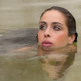 Swimming by Leonor Machado - People Portraits of Women ( water, face, reflections, lady, portrait )