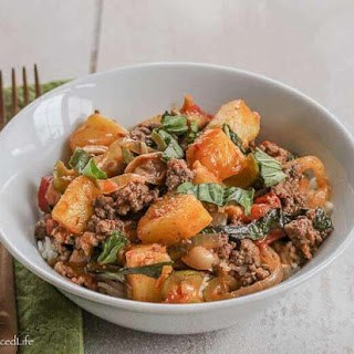 Thai Red Curry with Ground Beef, Tomatoes and Pineapple.