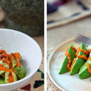 Avocado with Roasted Red Pepper Sauce.