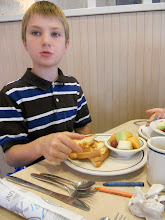 Photo: Not the usual breakfast, but a grilled cheese and bowl of fruit was the perfect breakfast for Cameron.