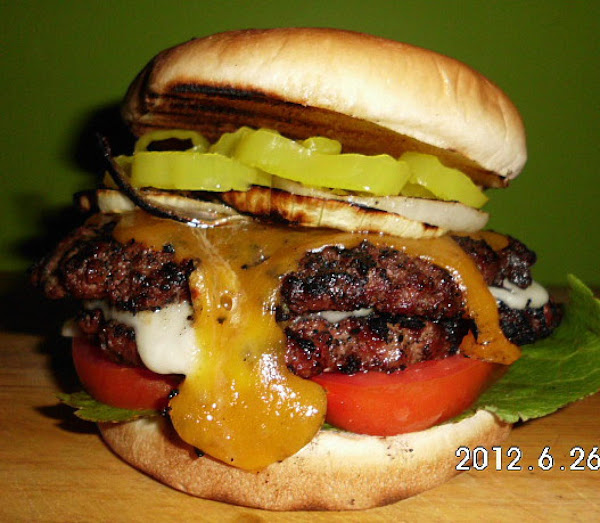 Grilled Jalapeno Bacon Double Meat & Cheese Burger Recipe