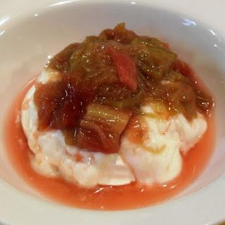 Rhubarb Compote with Vanilla Greek Yogurt & Meringue.