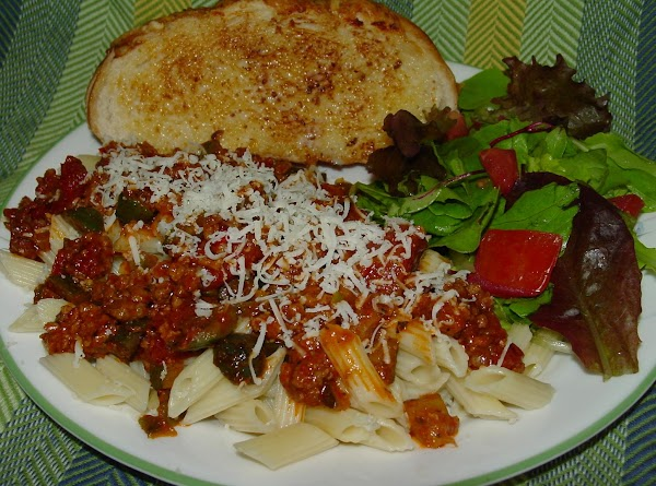 Pam's Easy Mini Penne With Meat Sauce Recipe