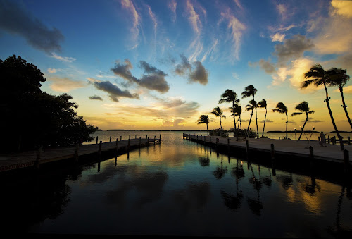 Islamorada Sunset by Joel Eade - Landscapes Sunsets & Sunrises ( islamorada, reflection, colorful, waterscape, beautiful, florida bay, docks, pretty, palms, awesome, sunset, florida, perfect,  )