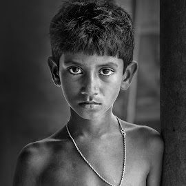Innocent Boy by Avik Sarkar - Black & White Portraits & People