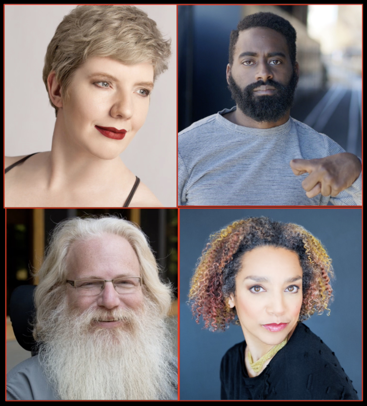 Laurel Lawson, a white woman with short blonde hair and blue eyes, gazes away from the camera with a wry smile highlighted by crimson lipstick. Jerron Herman, a Black man with a beard and black hair, looks directly into the camera; he wears a blue shirt with tiny stripes and holds his palsied hand in front of his chest. Alice Sheppard, a light-skinned multiracial Black woman with short very curly brown, red, and golden hair, looks over her shoulder and stares into the camera intensely. Michael Maag, a white man with a large white beard and flowing white/blonde hair, smiles at the camera; he wears thin framed glasses.
