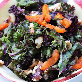 Purple Kale Salad with Creamy Apricot Ginger Dressing, Apples, and Walnuts.