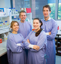 Photo: Dickins group: L-R Margherita Ghisi, Oliver Le Grice, Emilia Simankowicz, Ross Dickins http://www.acbd.monash.org/research/dickinsgroup.html
