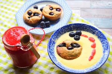 Blueberry Pudding, Jam & Custard