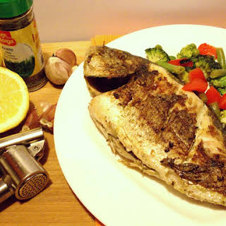 Grilled Sea Bream With Sauteed Vegetables.