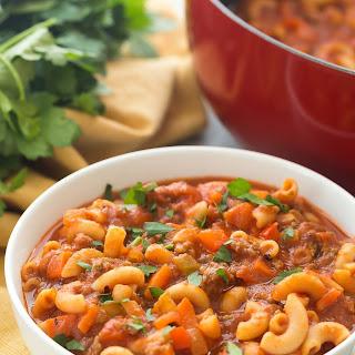 One Pot Beef and Tomato Macaroni Soup.