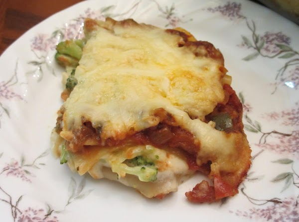 Use half the sauce in the Double Loaded Veggie Lasagna (also listed on JAP.)...