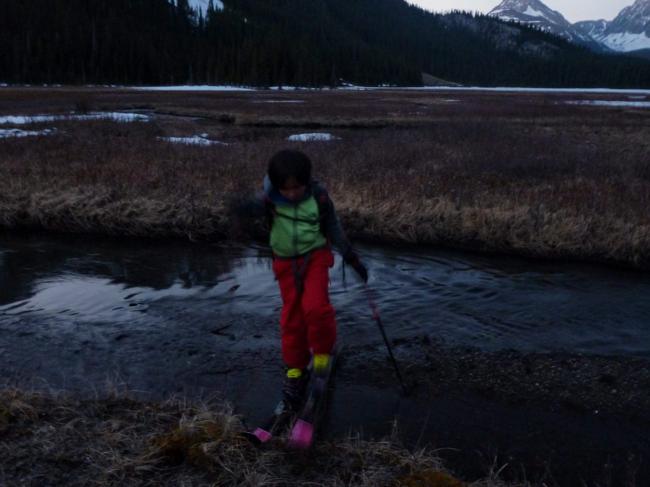 Crossing a marsh stream