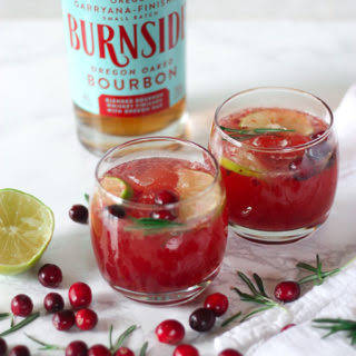 Cranberry Rosemary Bourbon Cocktails.