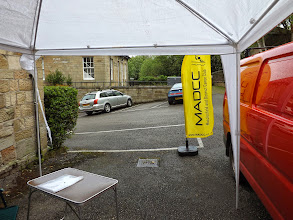 Photo: It was wet and windy so the gazebo had to be beaten into submission to provide shelter