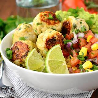 Cilantro-Lime Chicken Meatball Bowls with Sweet Corn Pico de Gallo and Cauli-Rice.