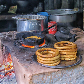 Breakfast stip by Cathleen Steele - Food & Drink Cooking & Baking ( oven, culture, roti, cookware, nepal, food )