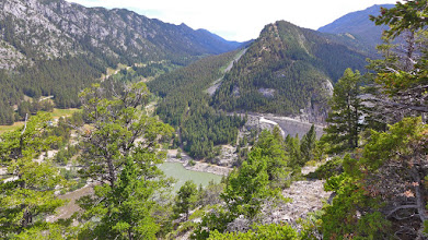 Photo: View of Gibson Dam from the overlook with Beaver Creek drainage to the left.