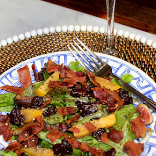 Sautéed Fig & Persimmon Salad with Bacon & Dried Cherries