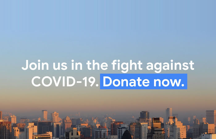 """Image of a city skyline with the words """"Join us in the fight against COVID-19. Donate now."""""""
