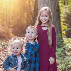 Siblings by Jenny Hammer - Babies & Children Children Candids ( siblings, fall, leaves, sisters, cute, brother, kids )