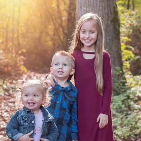 Siblings by Jenny Hammer - Babies & Children Children Candids ( siblings, fall, leaves, sisters, cute, brother, kids )