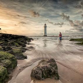 Togs on the Rock by Raymond Mcbride - Landscapes Sunsets & Sunrises ( new brighton, lighthouses, seascape, sunrise, perch rock )