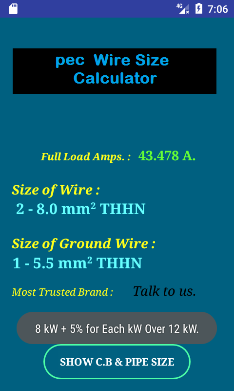 Pec wire size calculator full android apps on google play pec wire size calculator full screenshot greentooth Gallery