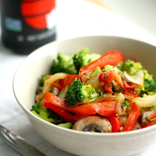 Sweet and Spicy Broccoli Red Pepper Stir Fry with Quinoa.