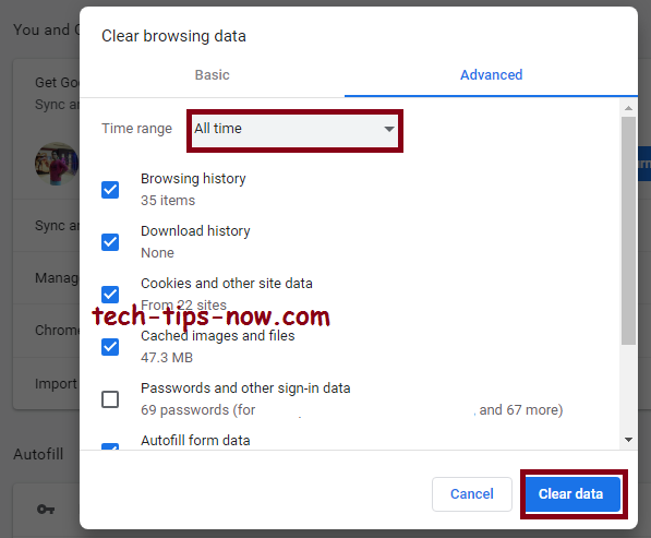 clear your browser cache all time data (Chrome)