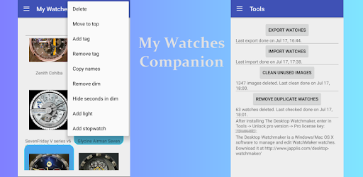 My Watches Companion Apps para Android screenshot