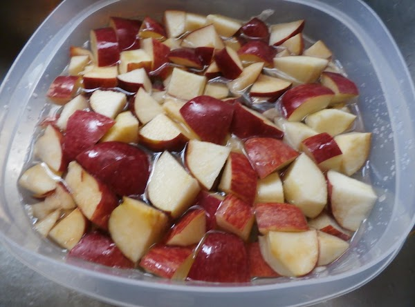 Core and chop the apples into large bite size  pieces. The red peels...