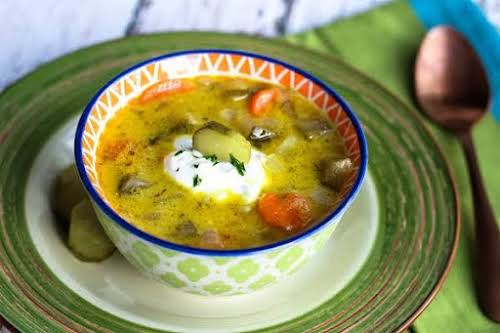 "Polish Pickle Soup""Polish pickle soup is a very popular soup in Poland...."