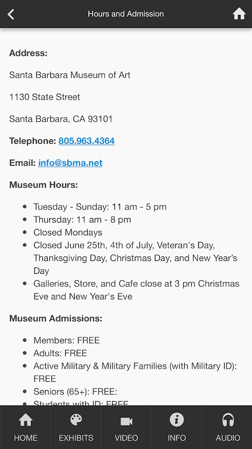 Santa Barbara Museum of Art- screenshot