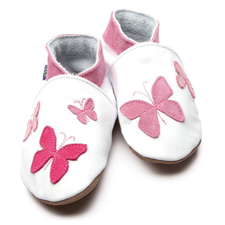 Inch Blue Soft Sole Leather Shoes - Kaleidoscope White Pink (6-12 months)