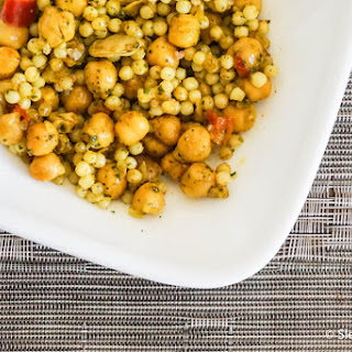 Curried Israeli Couscous and Chickpeas.