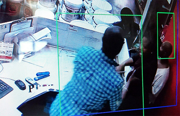 A screen-grab from the incident captured by a CCTV camera