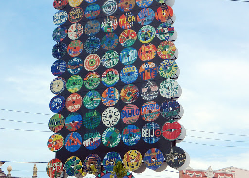 records.jpg - Sculpture made from 45rpm vinyl records in the nightclub area.