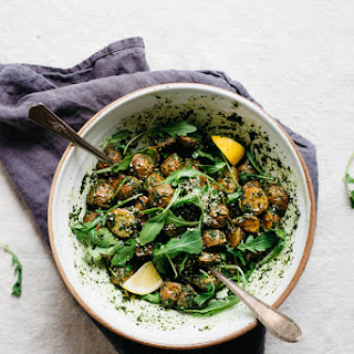 Roasted Garlic Pesto Potatoes With Arugula | V
