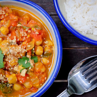 Chickpea, Mushroom And Spinach Curry.