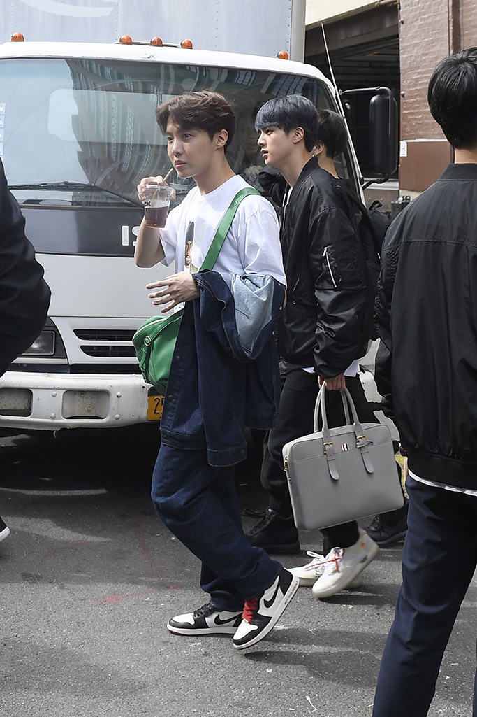 BTS Band Members Jungkook, Jimin, V, Suga, Jin, RM, J-Hope taking a walk in New York City promoting their new single Map of The Soul Persona