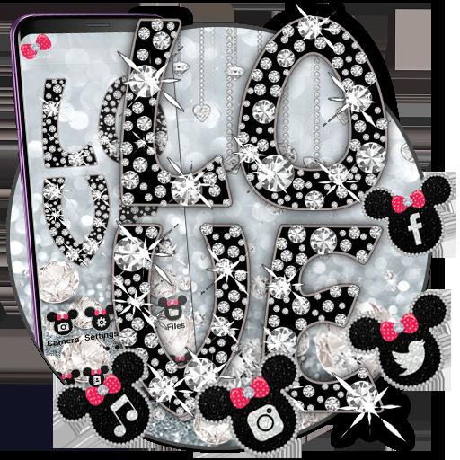 Silver Minny Bowknot Love Launcher Theme Wallpaper