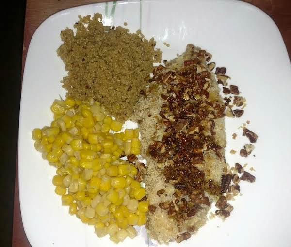 Maple-mustard-pecan Panko Crusted Chicken, Drizzled With The Bourbon Sauce, Served With Quinoa And Corn.