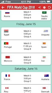 Football World Cup 2018 Schedule – World Cup 2018 - náhled
