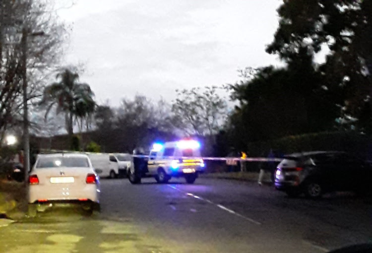 The scene on Fairfield Avenue in Scottsville, Pietermaritzburg, on Tuesday evening when seven people, including an awaiting trial prison escapee, were shot dead during a police raid on a home.