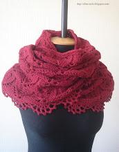 Photo: женский вязаный шарф-снуд труб ахомут Бордо с обвязкой как в модели Коралл