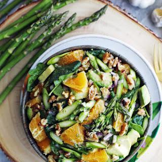 Asparagus Orange Spinach Salad with Basil Lemon Vinaigrette Recipe