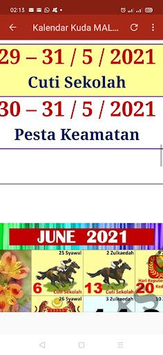Kalendar Kuda Malaysia - 2021 ss3