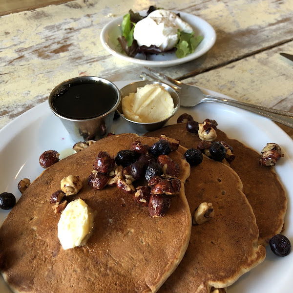 Blueberry pancakes with vegan lemon butter special
