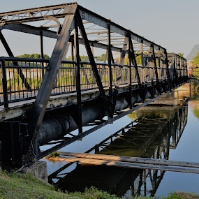 Bridge at Columbia Canal and Riverfront Park, Columbia, South Carolina by Sheri Fresonke Harper - City,  Street & Park  City Parks ( columbia, bridge, columbia canal, canal, south carolina, riverfront park,  )